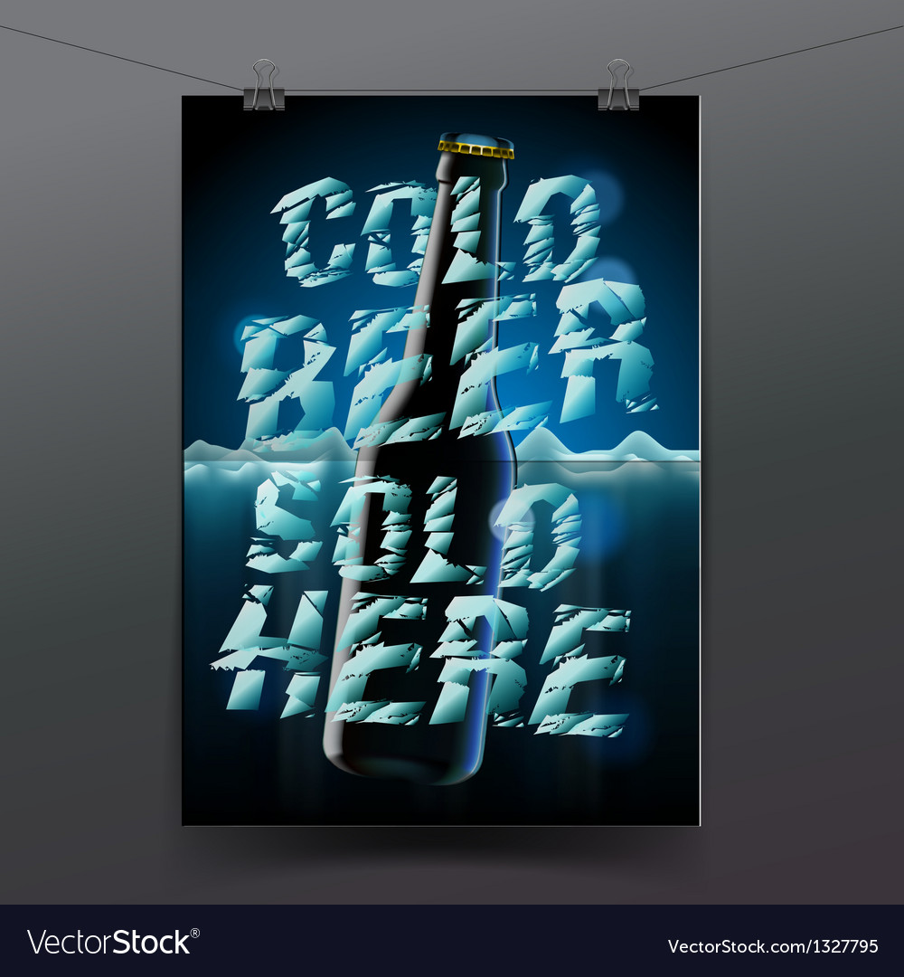 Banner with cold bottle of beer is in ice vector