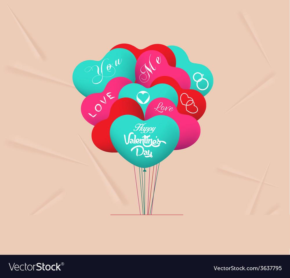Valentines heart balloons vector