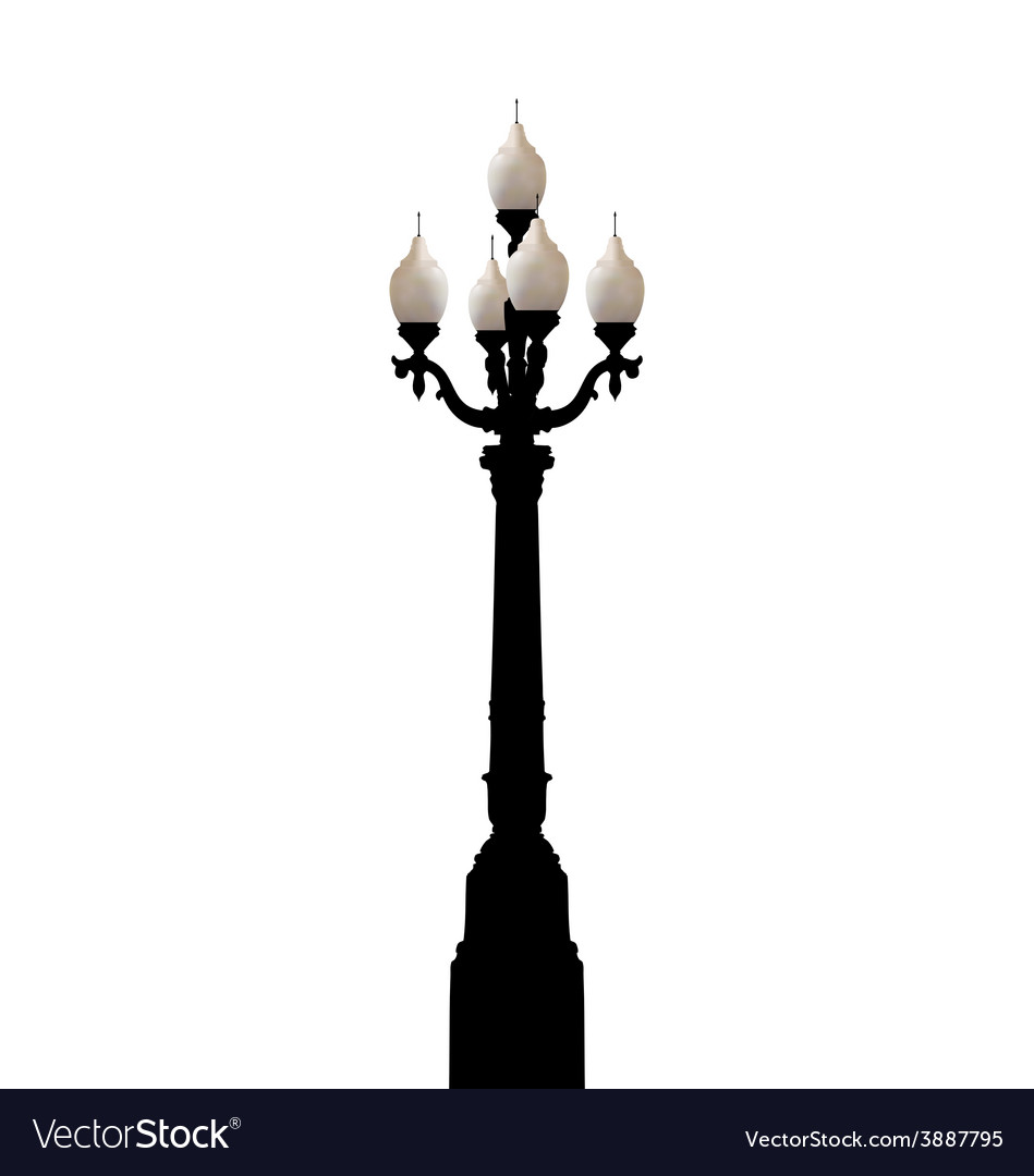 Vintage forged lamppost isolated on white vector