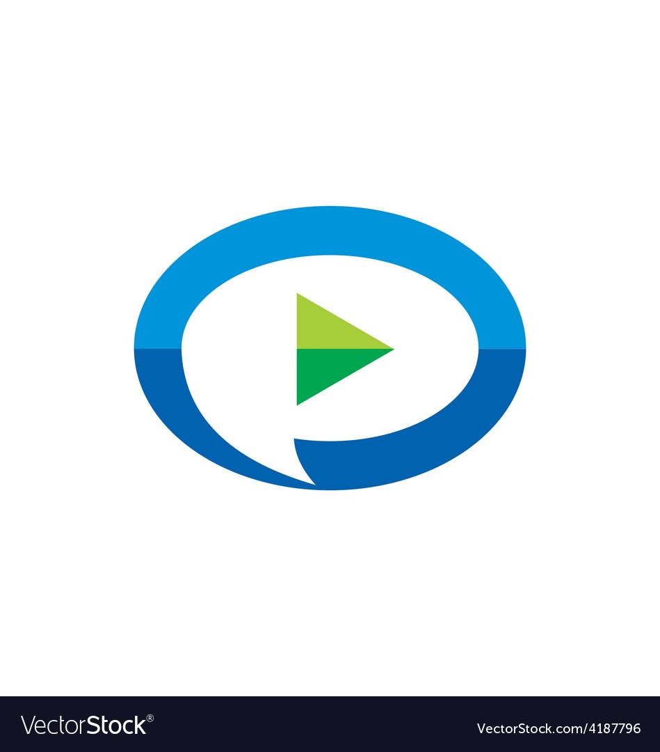 Video play talk bubble logo vector
