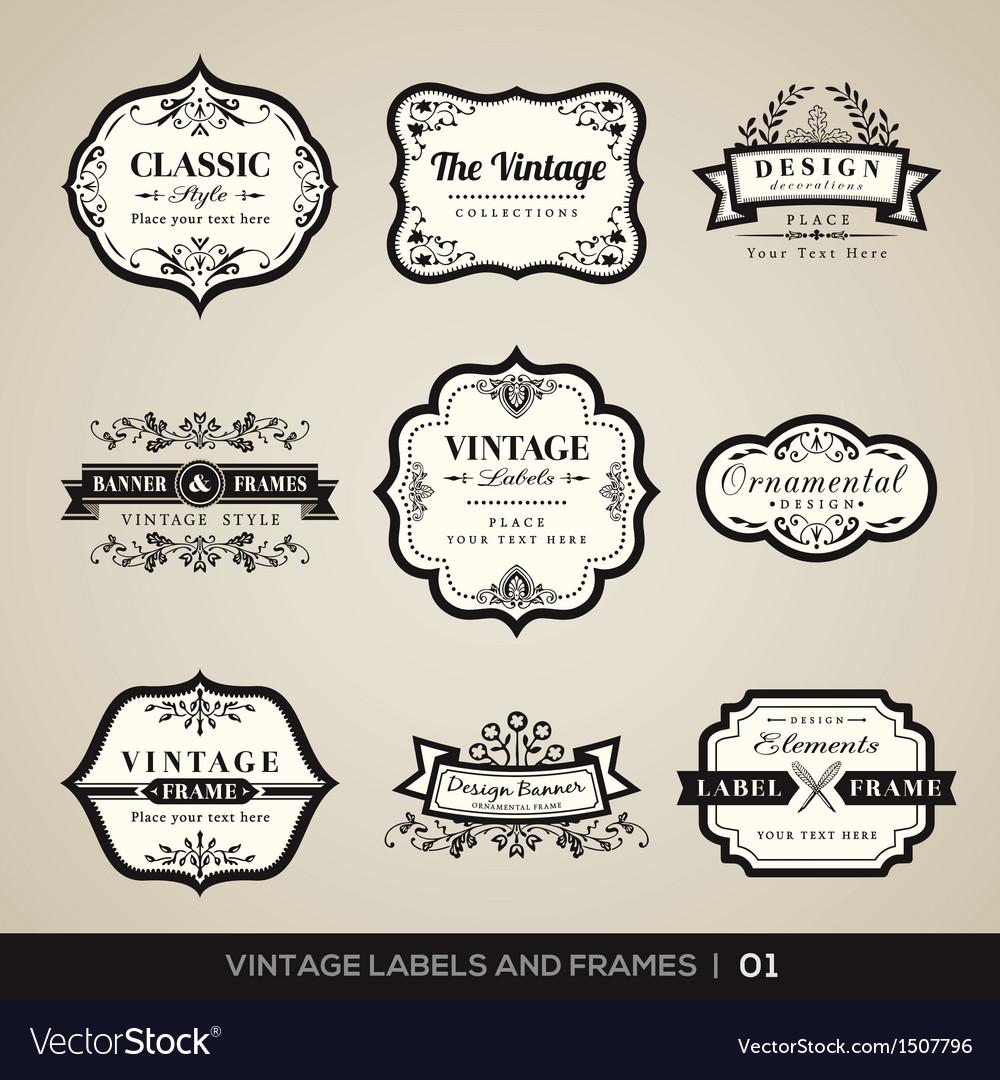 Vintage labels and frames design elements vector