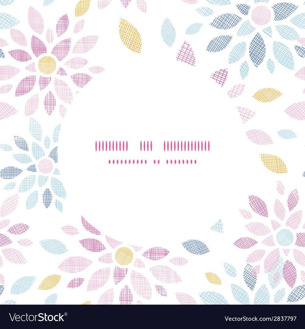 Abstract textile colorful flowers round frame vector