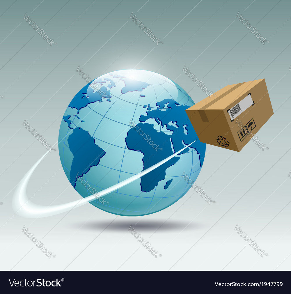 Planet earth and a cardboard box vector