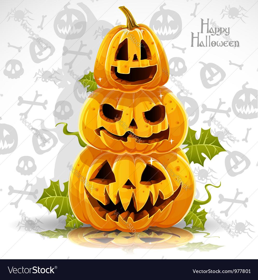 Happy halloween banner with terrible pumpkins vector