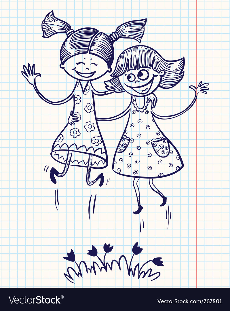 Two pretty girls jump for joy vector