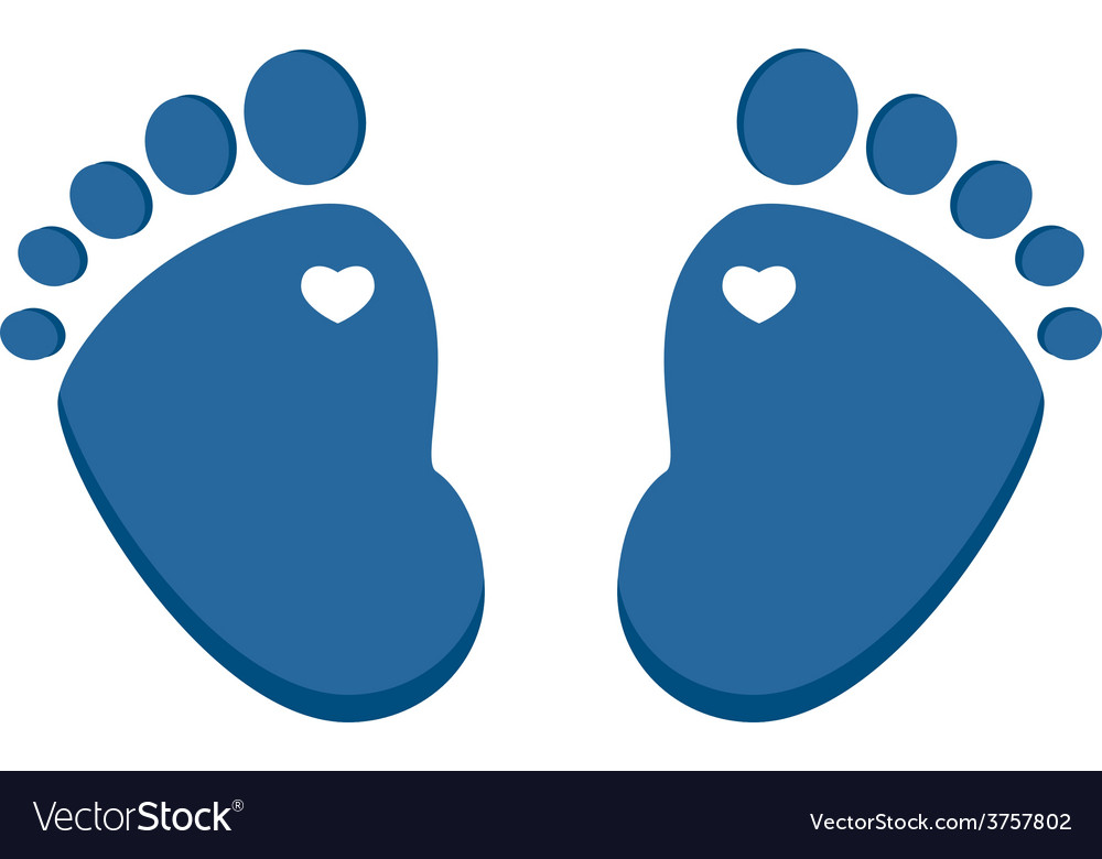 Blue baby footprint vector