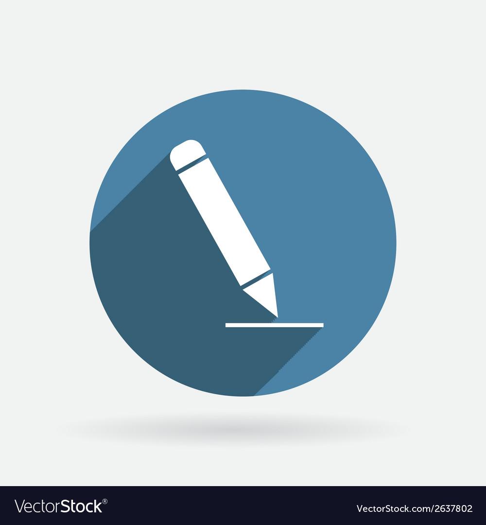 Pen writing on a sheet circle blue icon vector