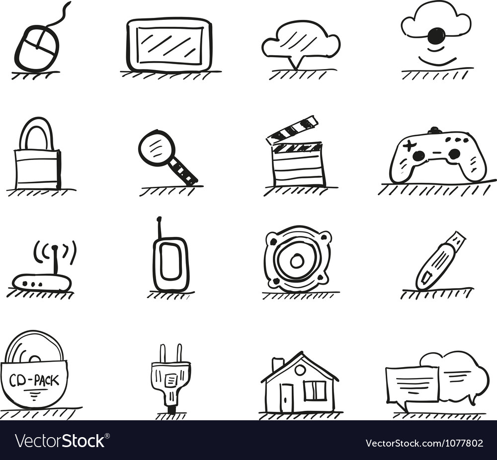 Web hand drawn icons vector