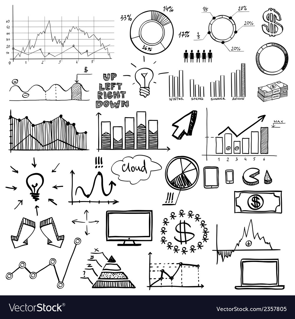 Hand draw doodle web charts business finanse vector
