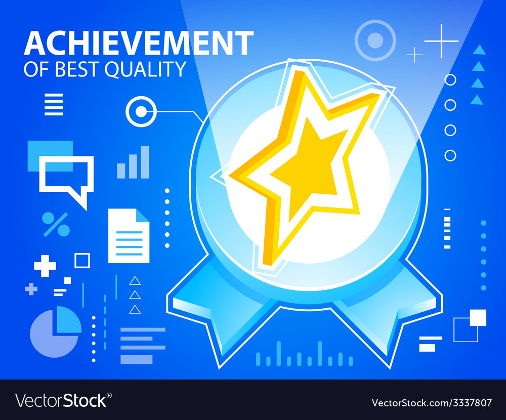 Bright emblem and star on blue background fo vector