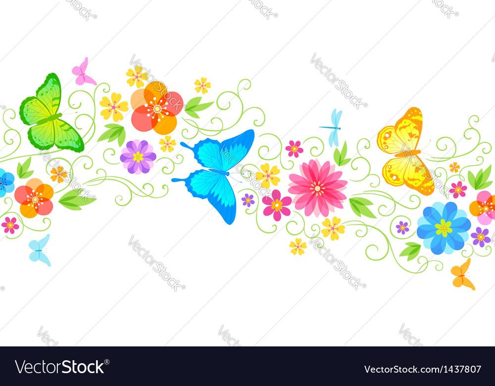 Summer floral wave vector