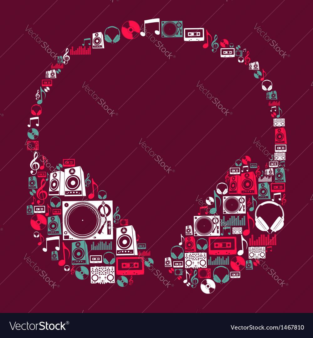 Dj music icons headphone vector