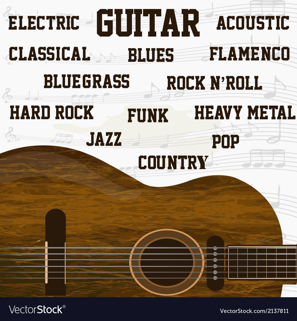 Different types of guitar music background vector