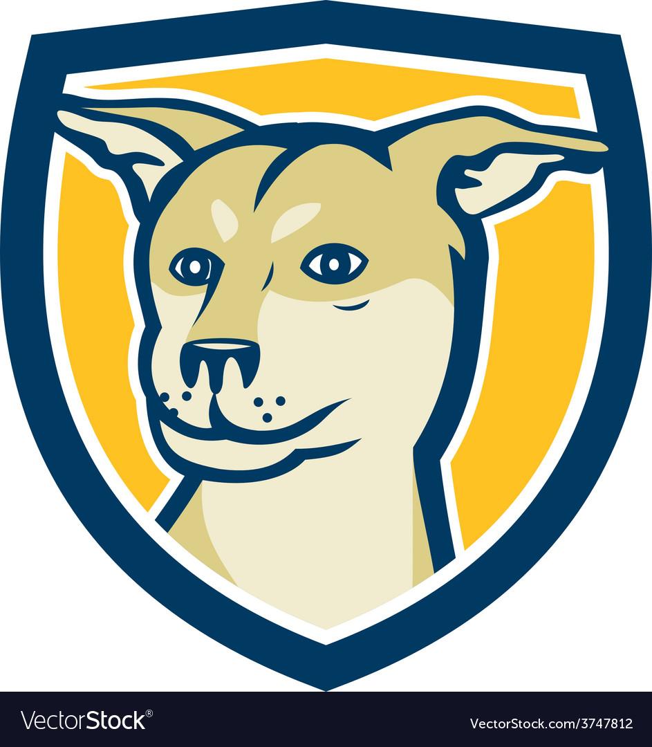 Husky shar pei cross dog head shield cartoon vector