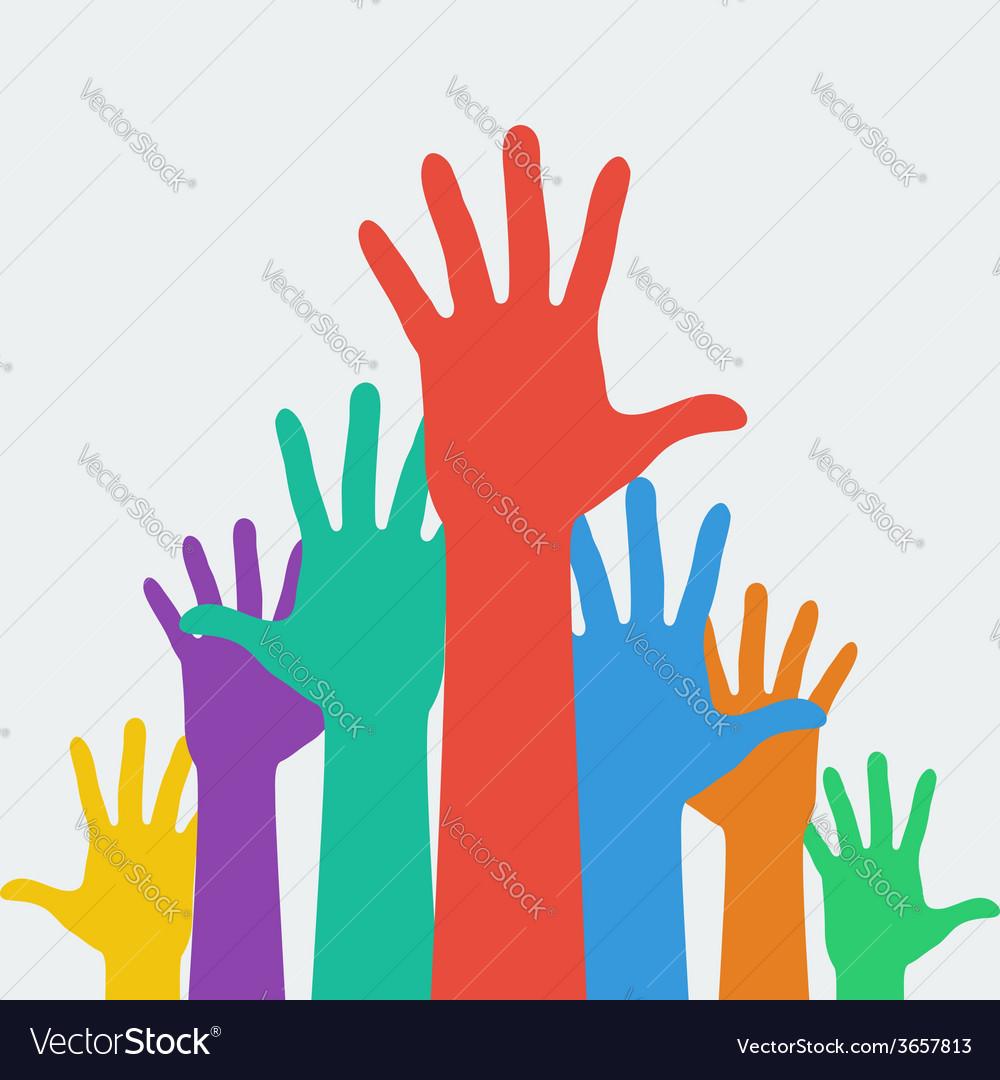 Hands up career symbol vector
