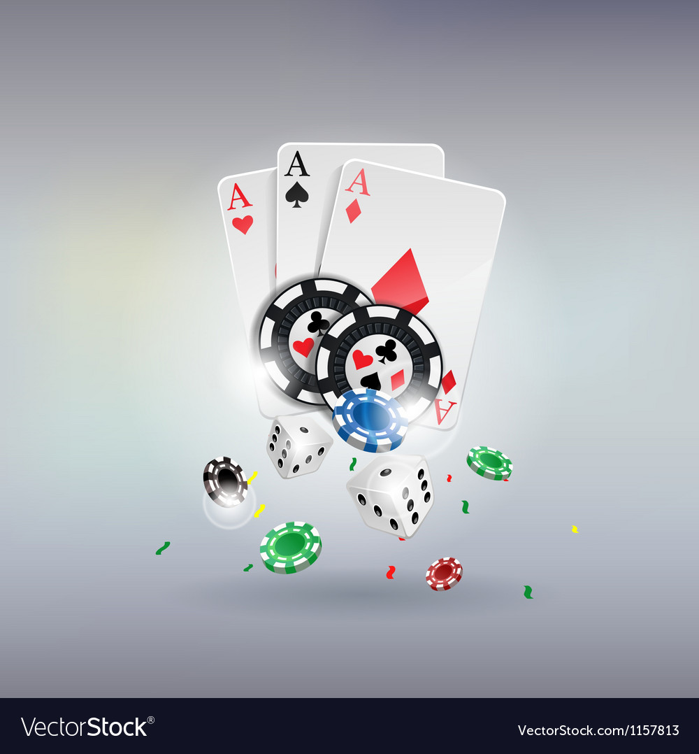 Poker gambling chips poster chips dices cards vector