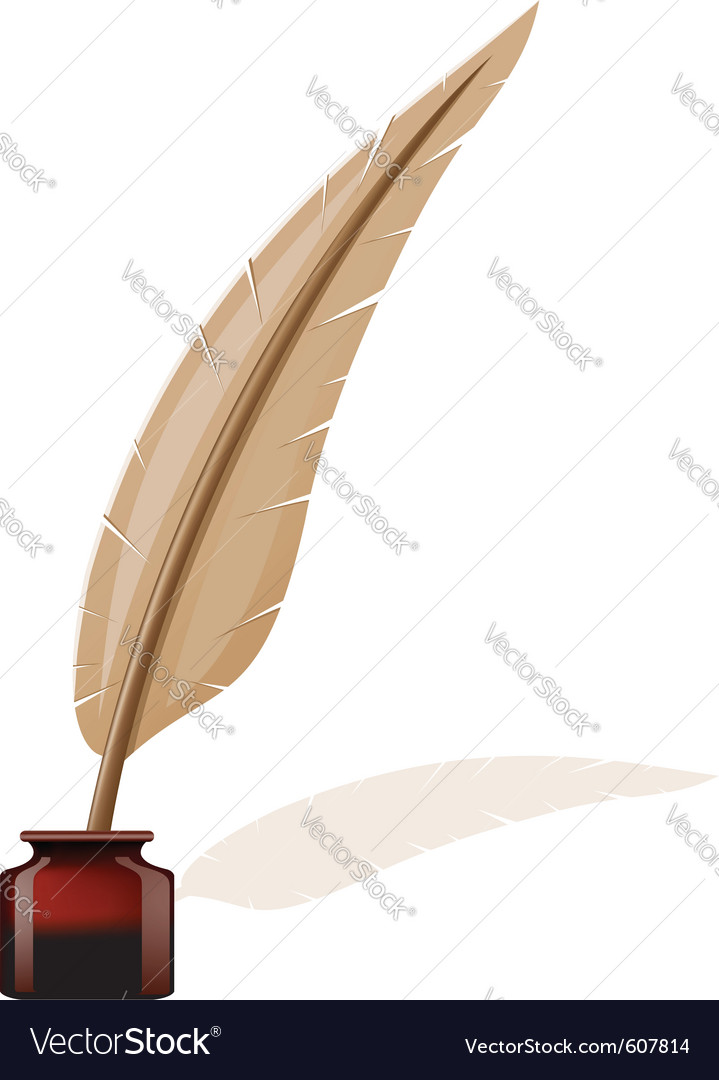 Feather and ink-pot vector