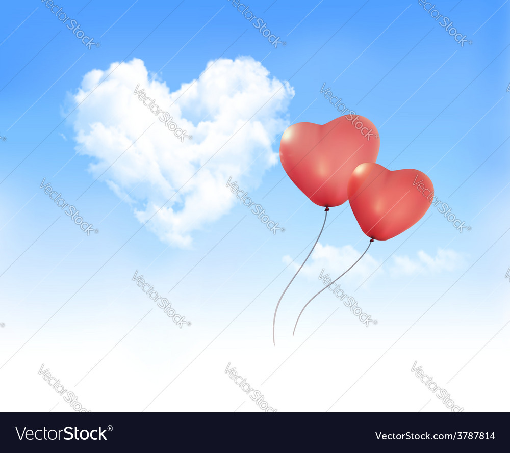 Holiday background with heart shape of cloud on vector