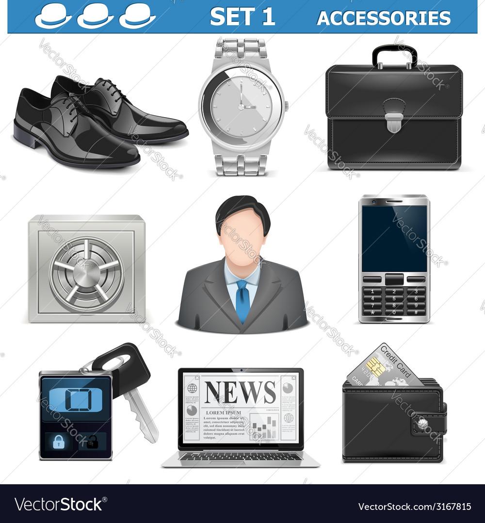 Male accessories set 1 vector