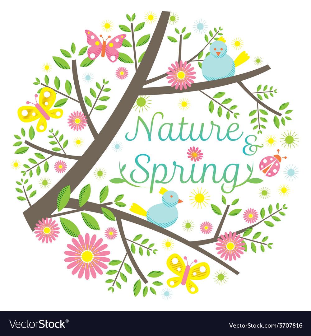 Spring season icons heading vector
