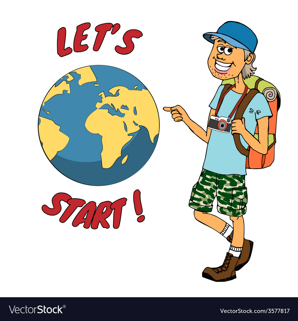 Young backpacker ready to journey around the globe vector