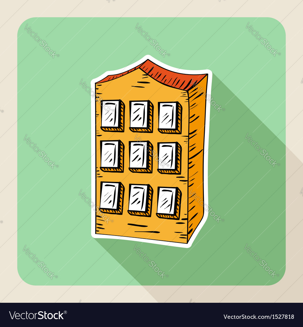 Hand drawn real estate residence house vector