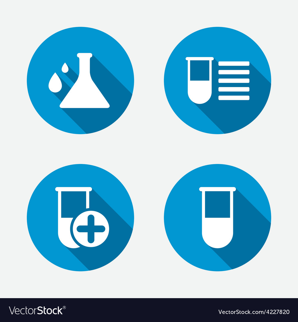 Chemistry bulb with drops sign medical test vector