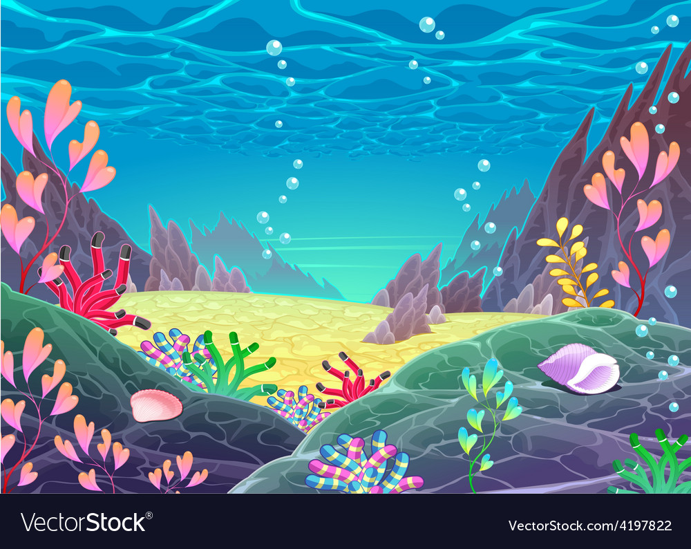 Funny cartoon seascape vector