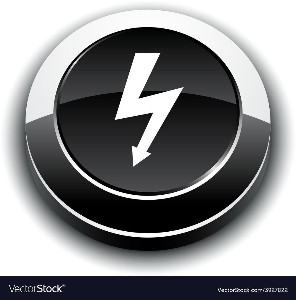 Warning 3d round button vector