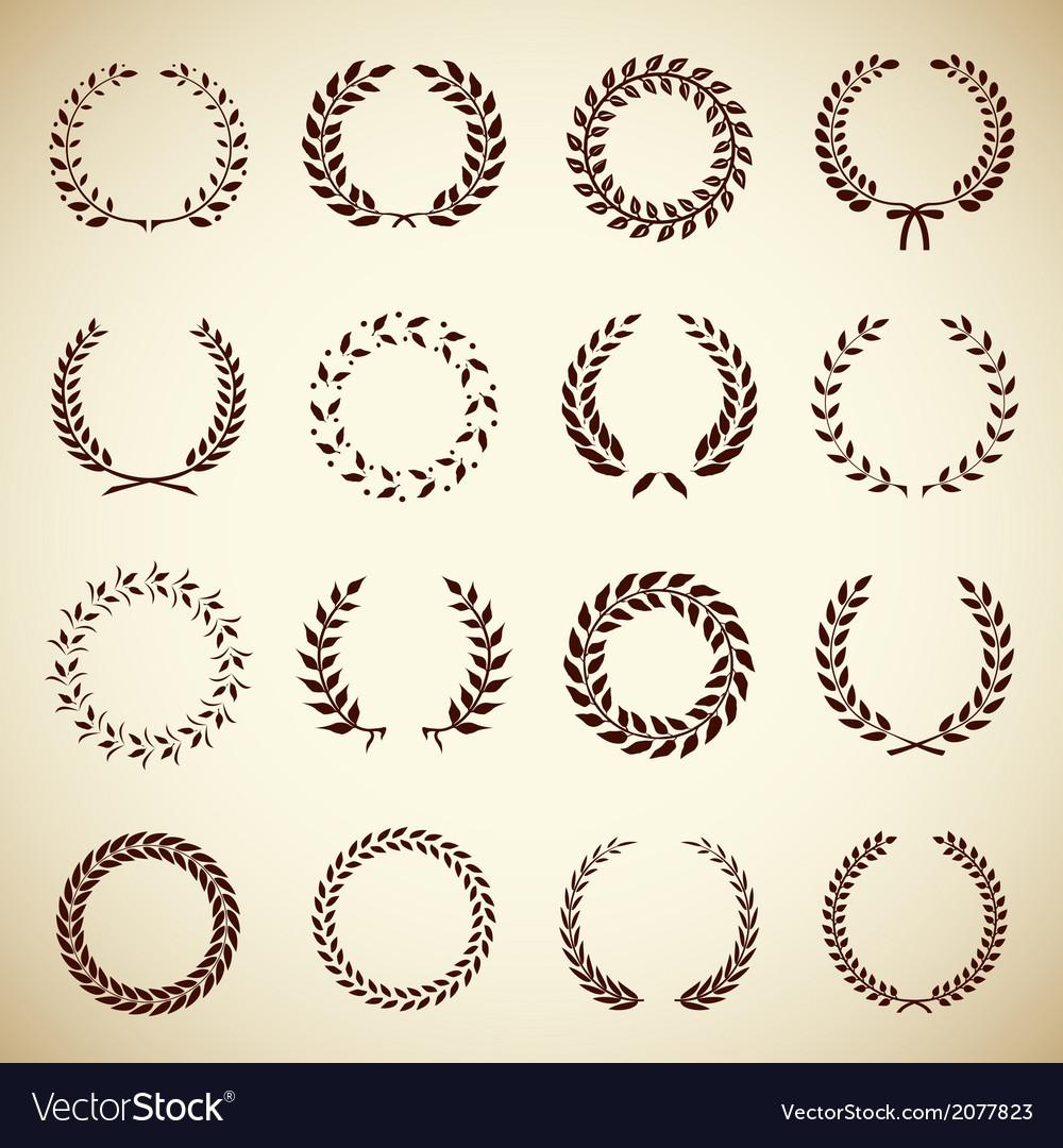 Collection of vintage laurel wreaths vector