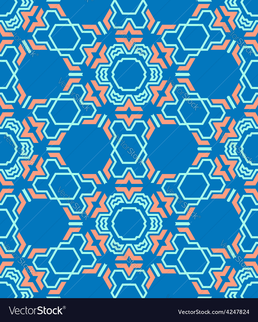 Abstract geometric blue red seamless pattern vector