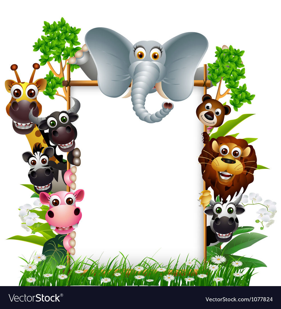 Funny animal with blank sign vector