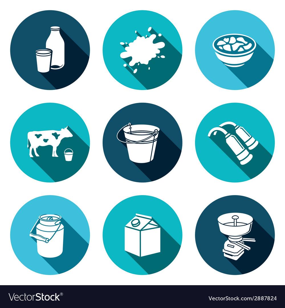 Milk production icons set vector