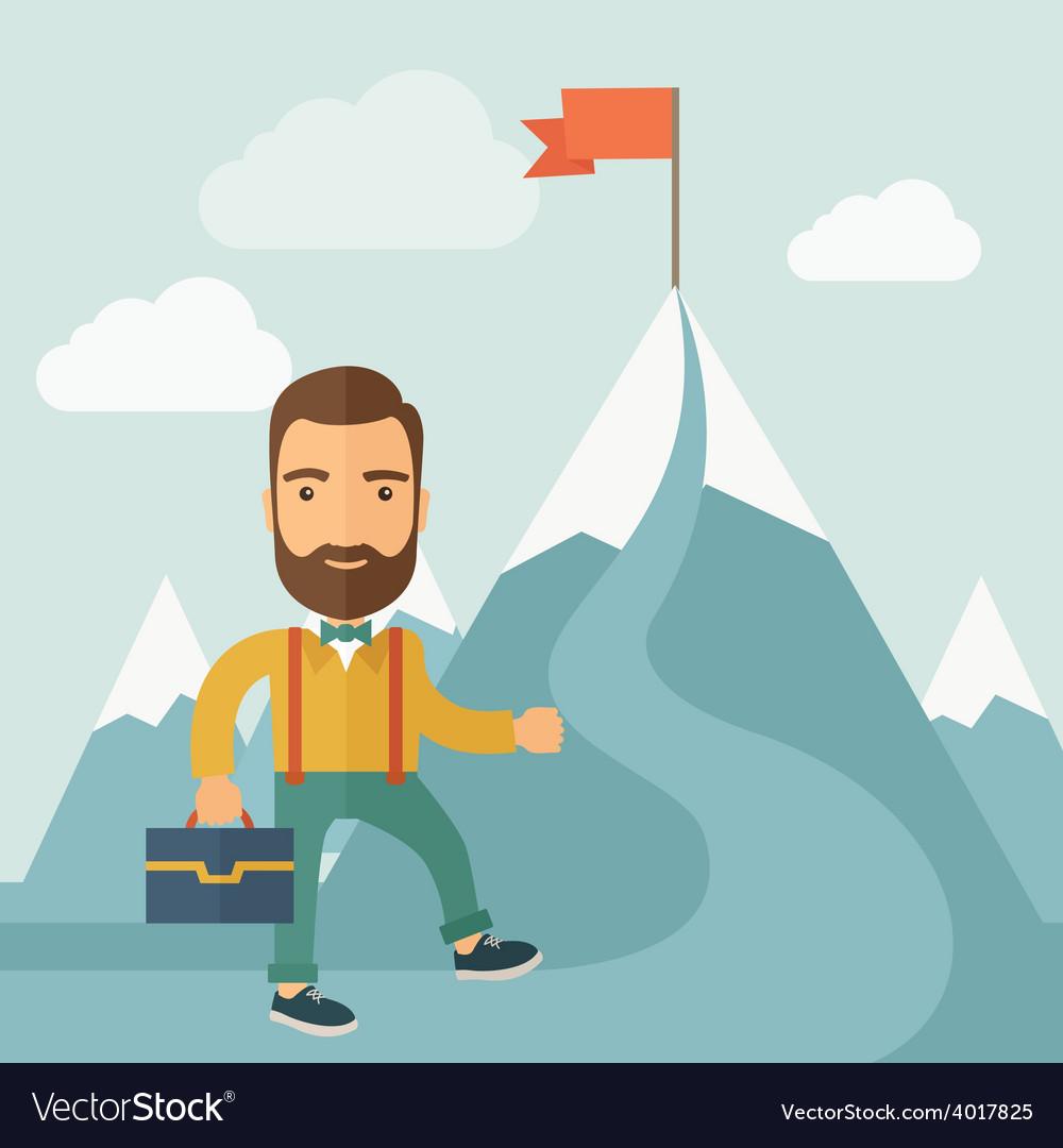The man climbing the mountain of success vector