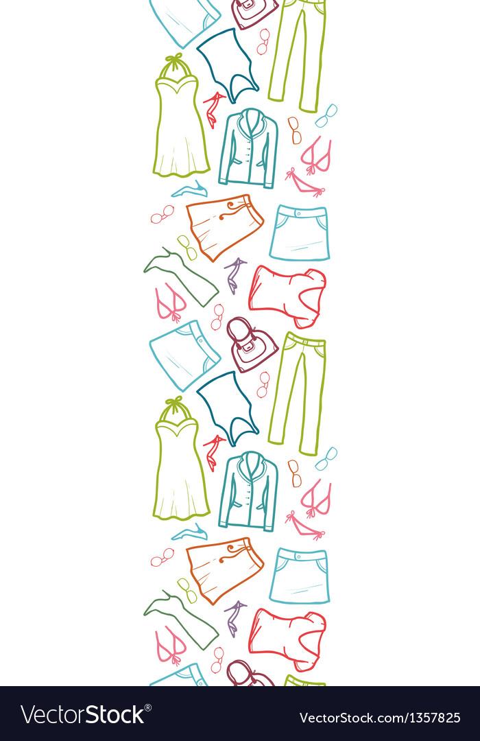 Wardrobe clothing vertical seamless pattern border vector