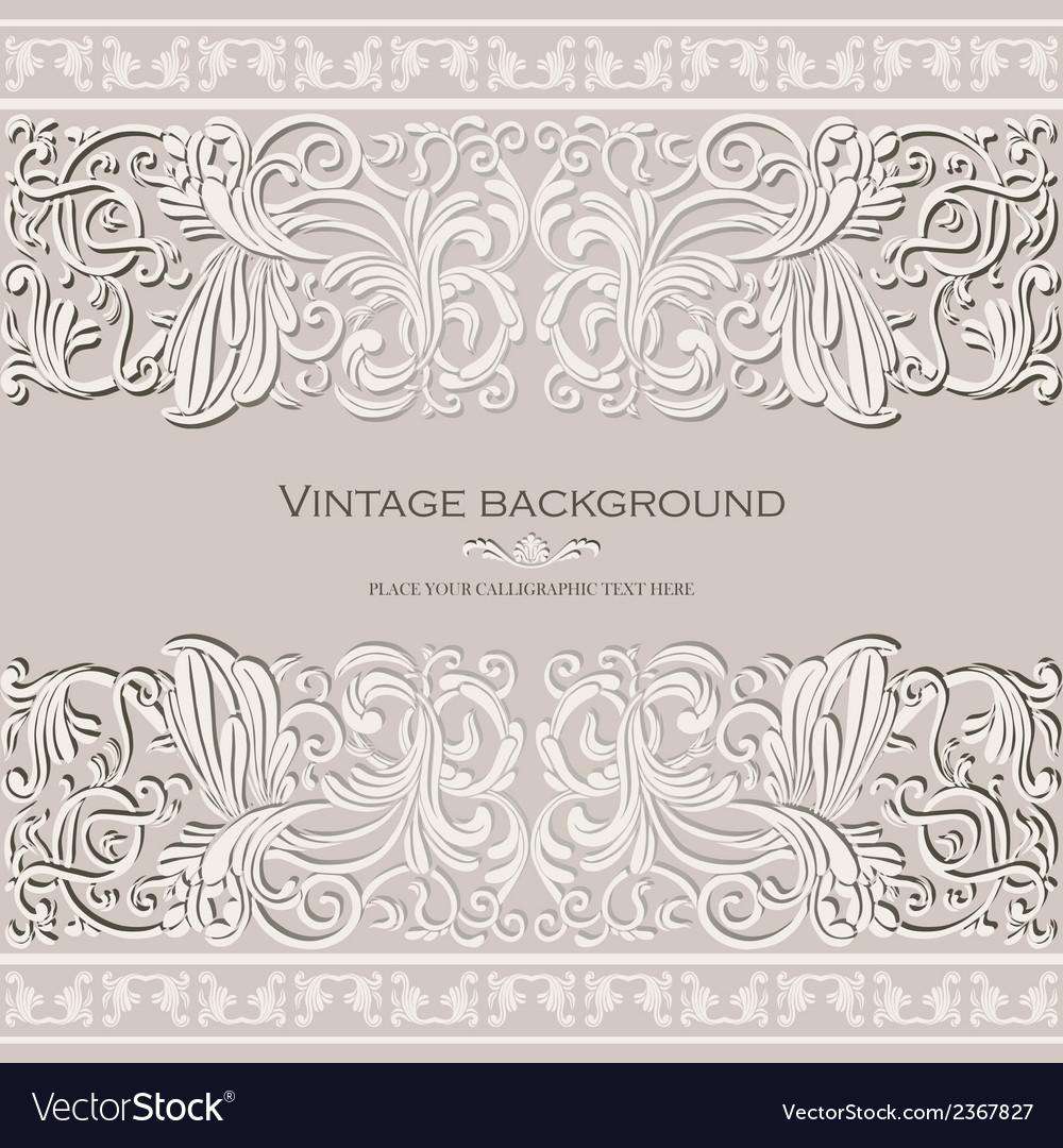 Antique vintage card victorian gold ornament vector