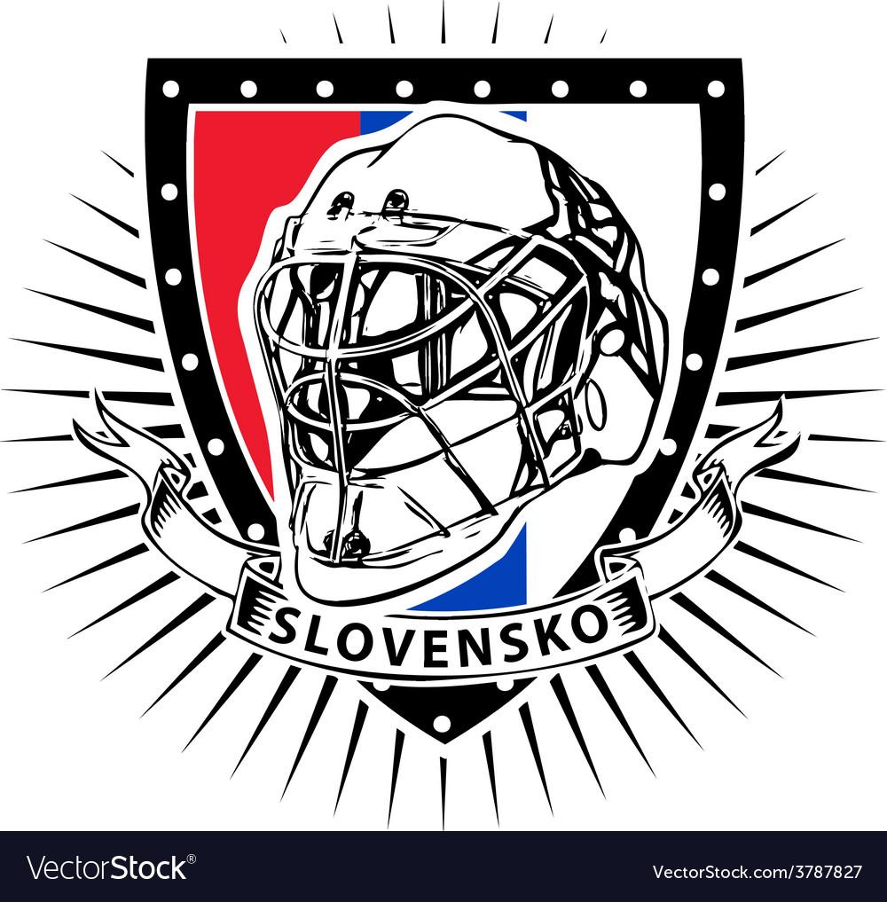 Slovakia ice hockey helmet shield vector