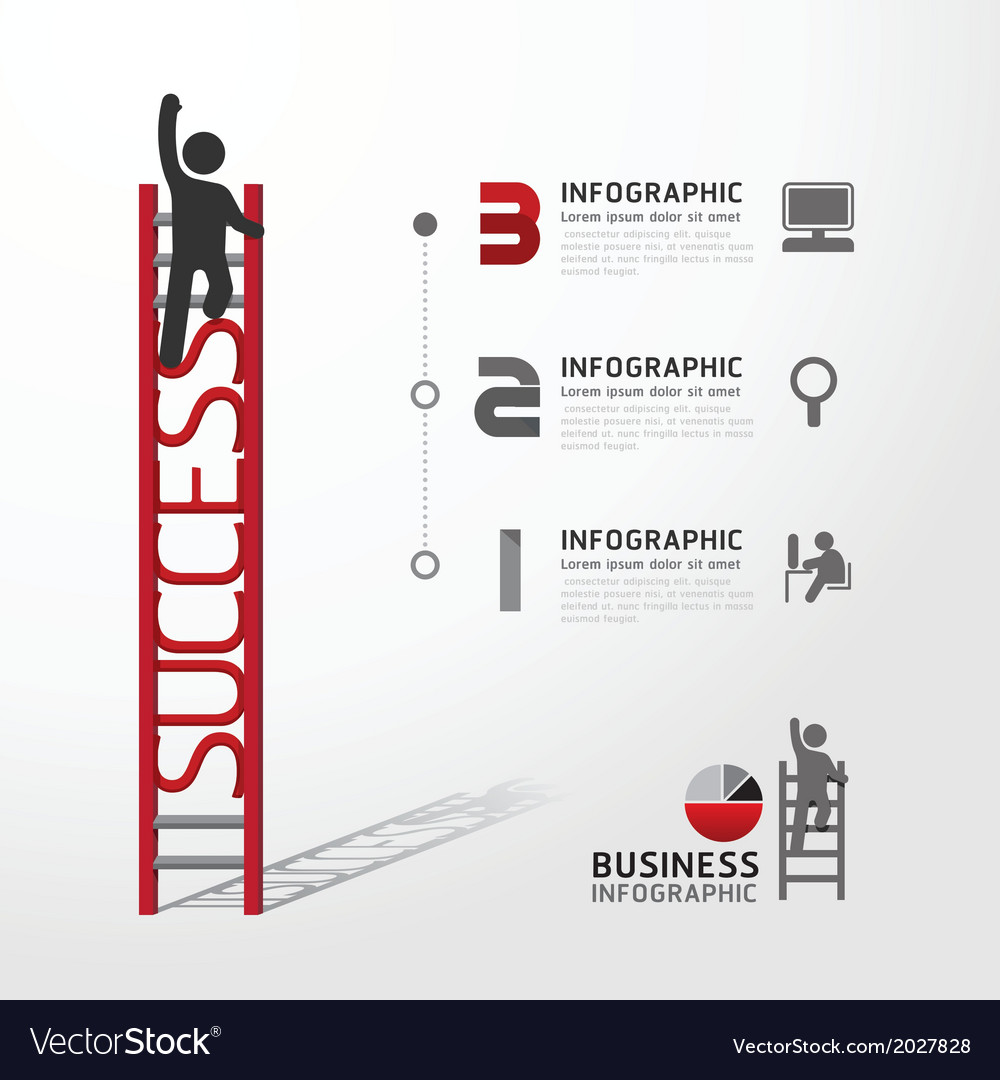 Business infographic climbing ladder concept vector