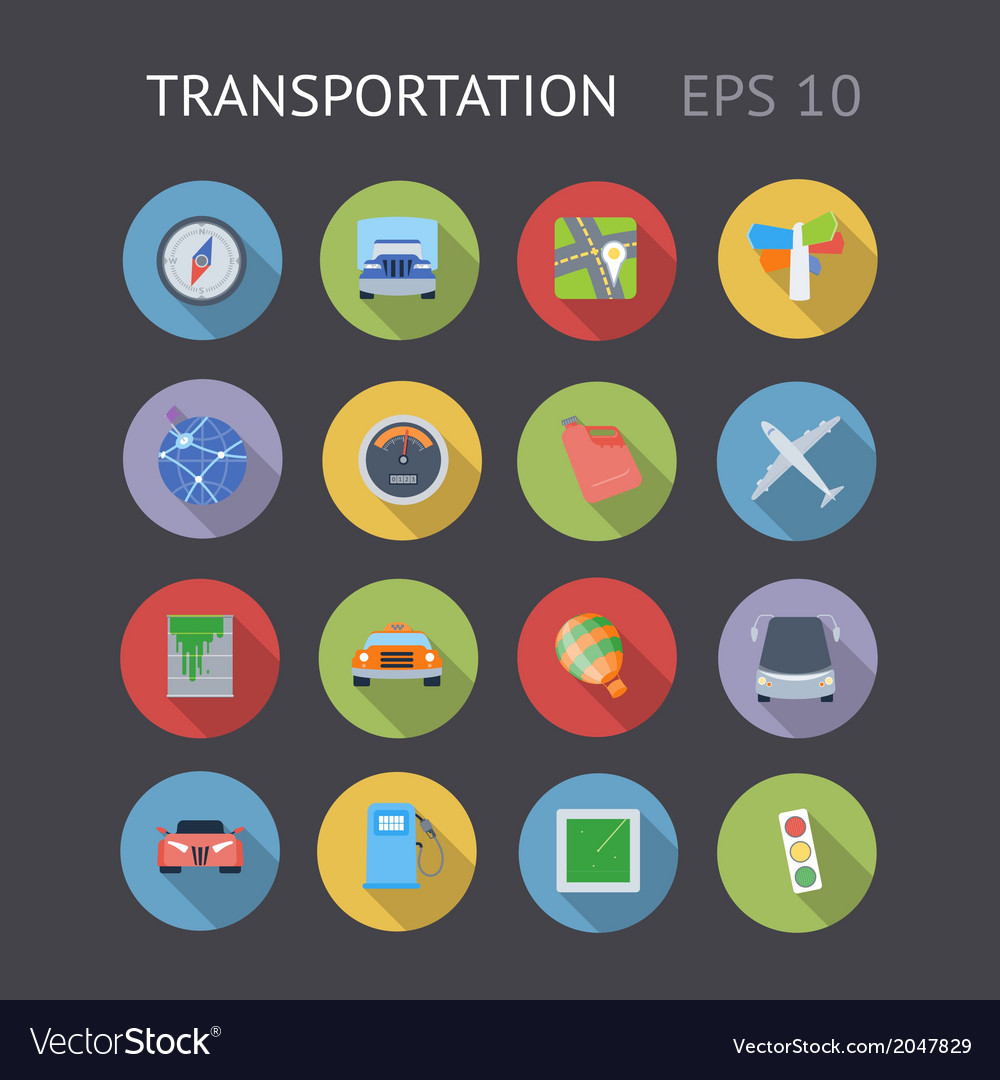 Flat icons for transportation vector