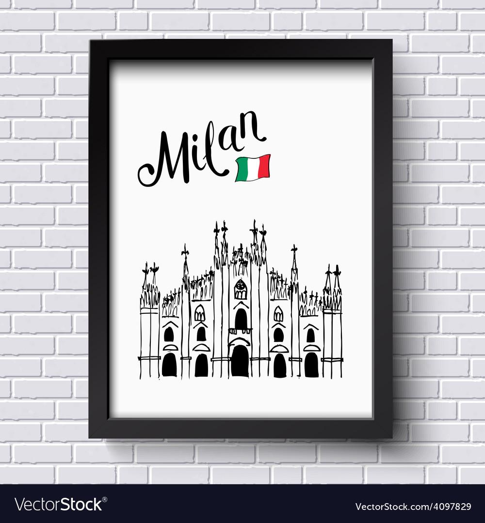 Patriotic or travel poster design for milan vector