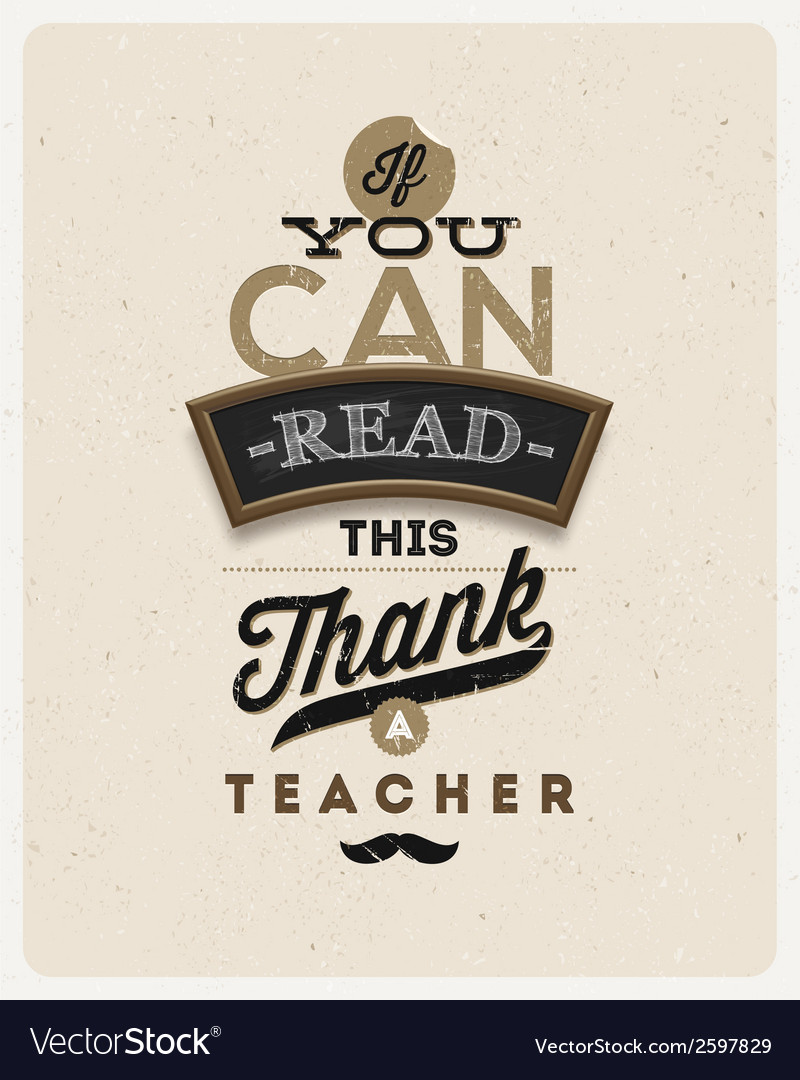 Type design quote about a teacher vector