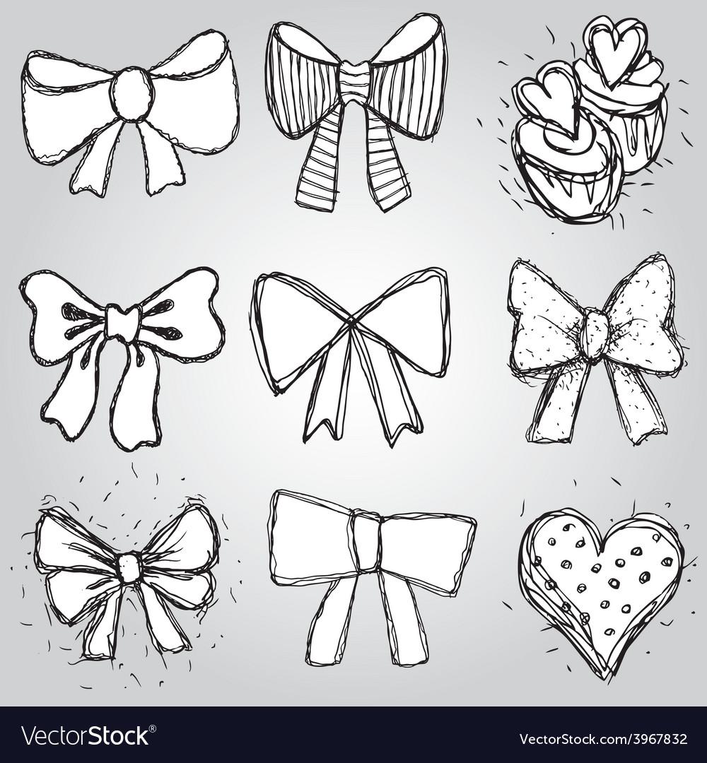 Set of bows hearts cupcakes sketch contour pen vector