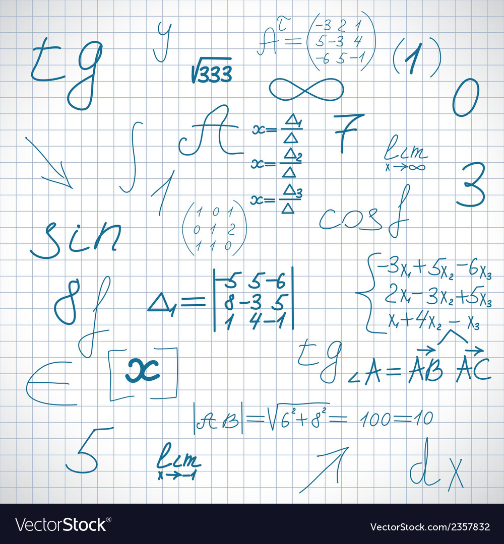 Sheet from exercise book schoolboy vector