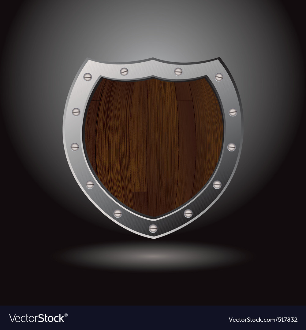 Wood shield blank vector