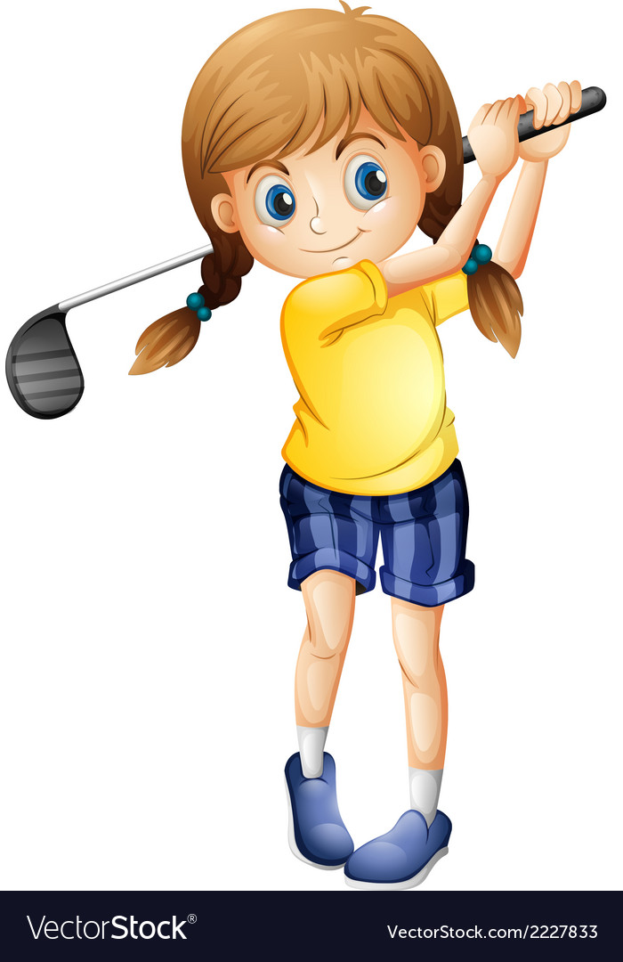 A sporty girl playing golf vector