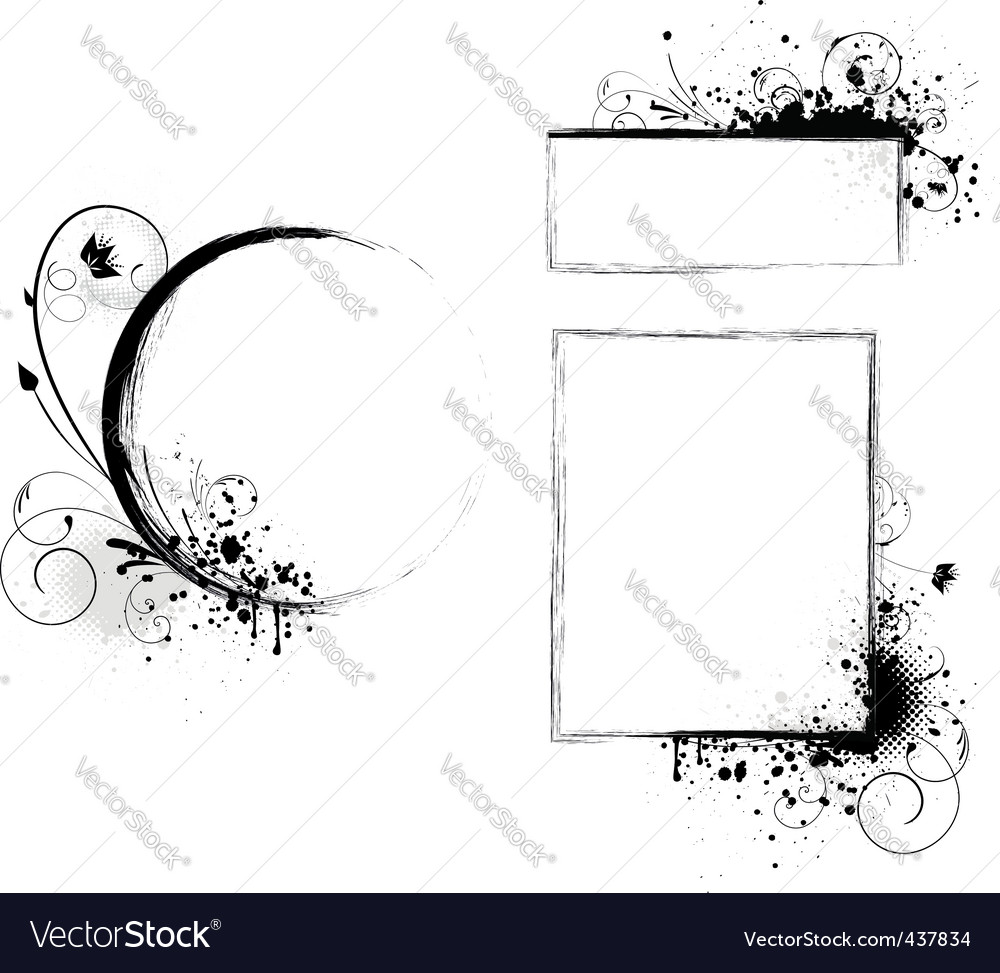 Grunge frames with floral vector