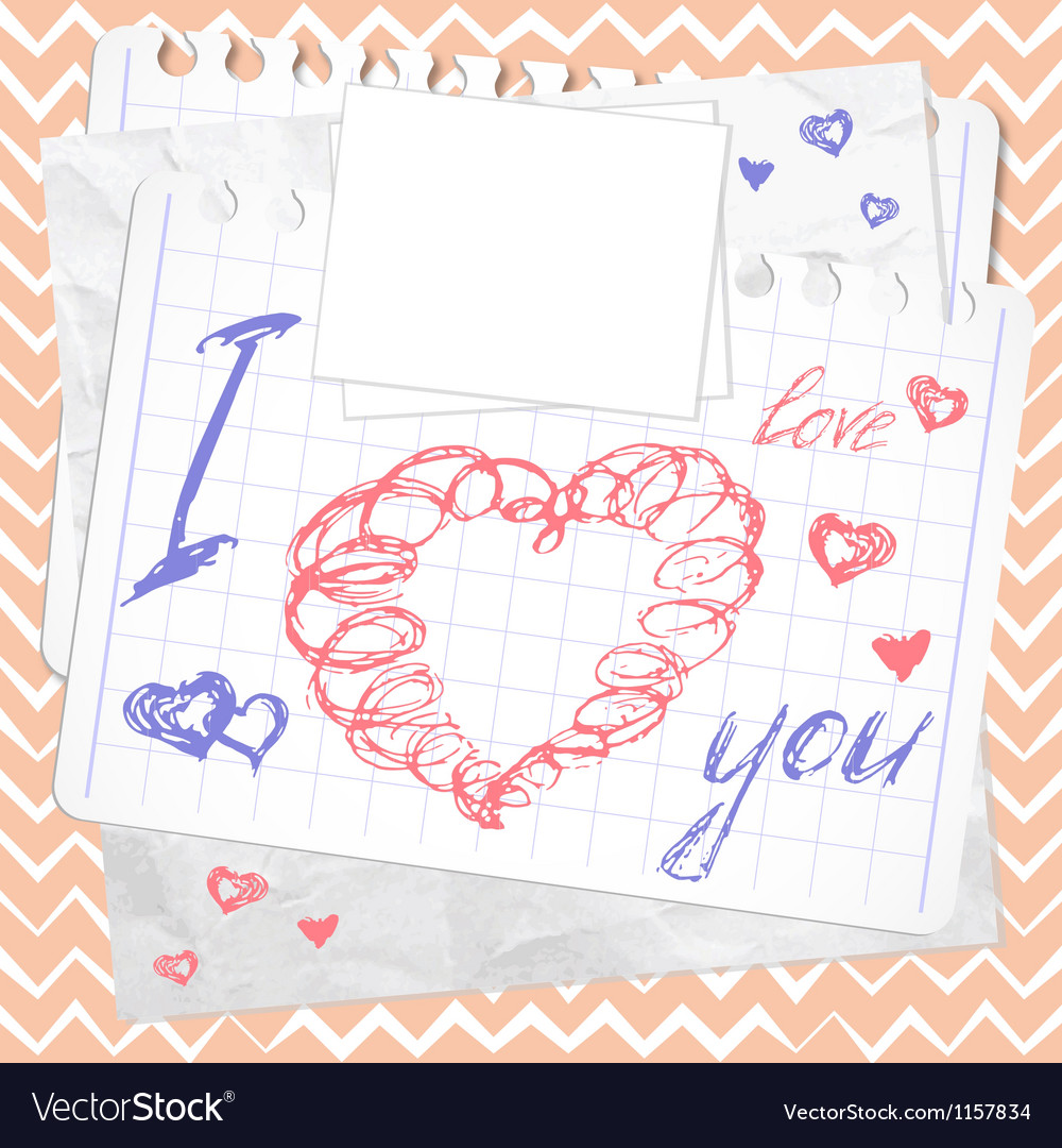 Valentines day card hearts sketchy doodles vector