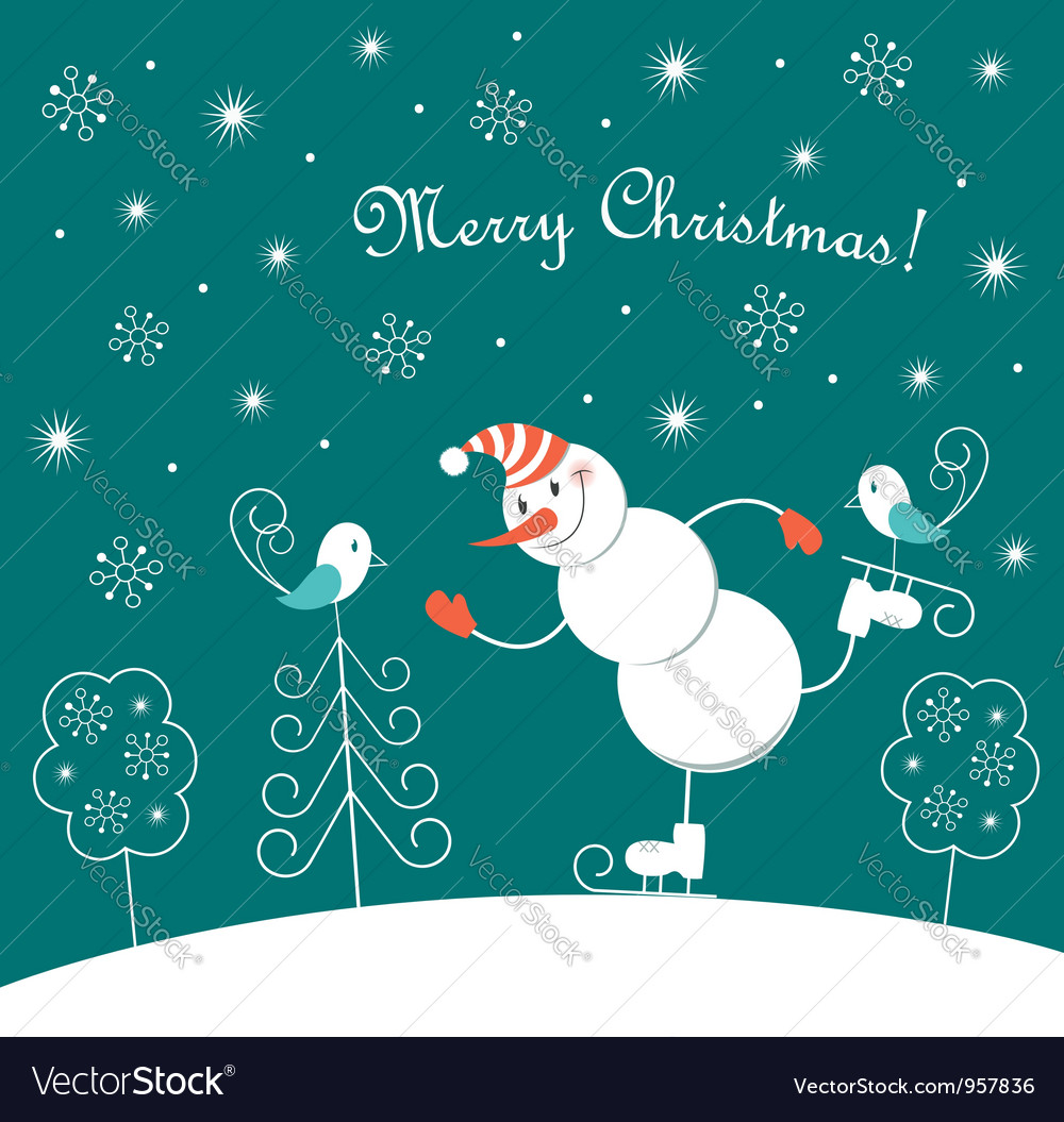 Christmas skating happy snowman vector