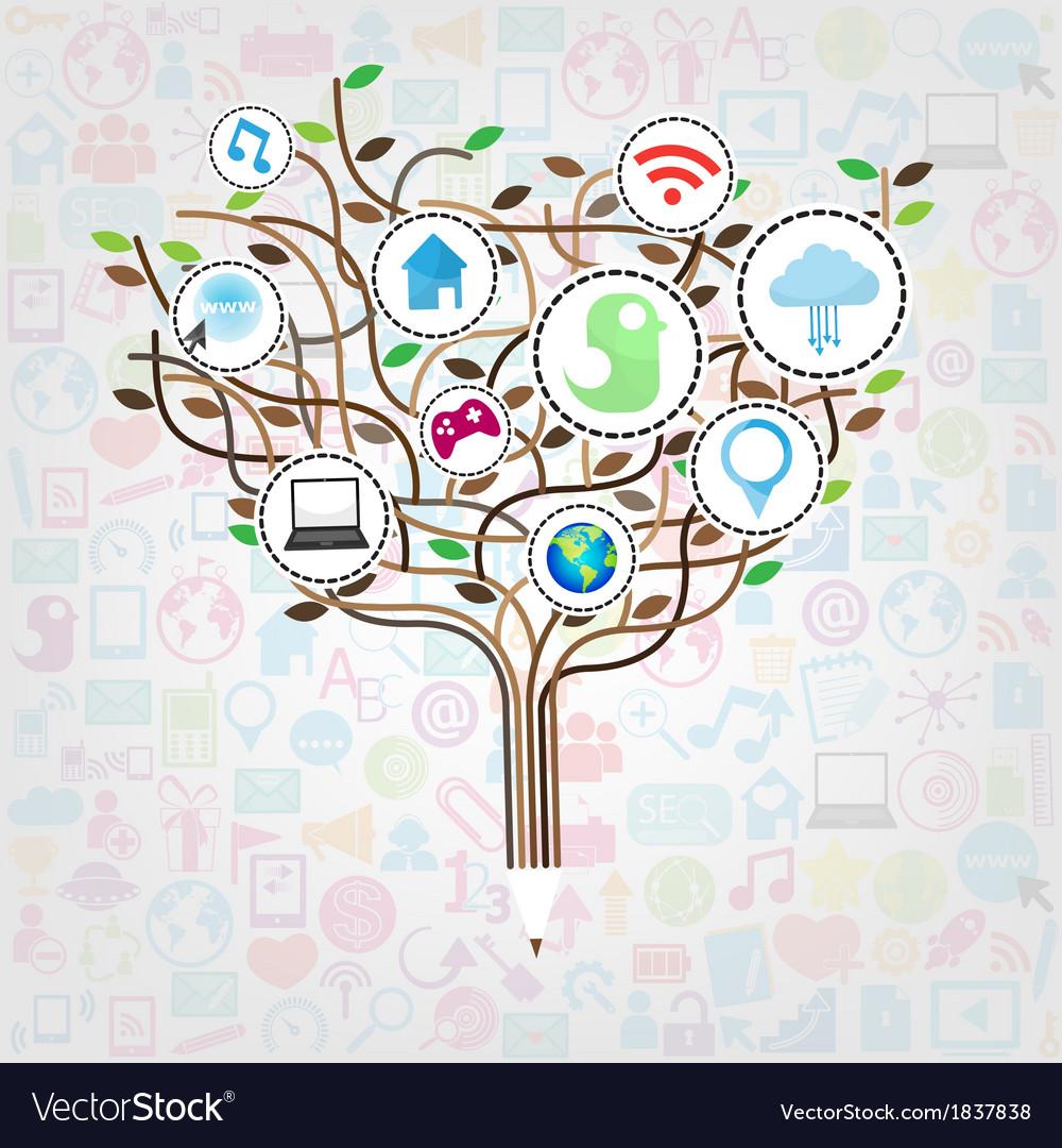Social network education concept pencil tree vector