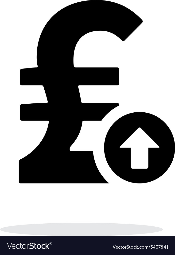 Pound sterling exchange rate up icon on white vector